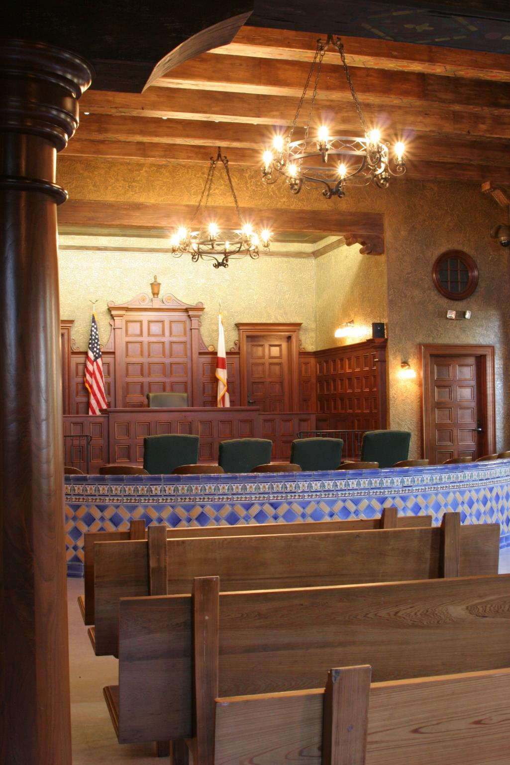 View of seating in Sarasota Historic Courtroom.